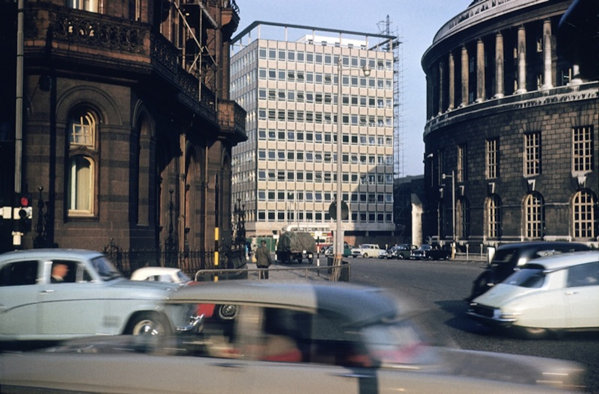 ABC Television House on Mount Street, from the junction of Oxford Street and Lower Mosley Street, c. 1960. Designed by J. E. Beardshaw & Partners and built 1959-60.
