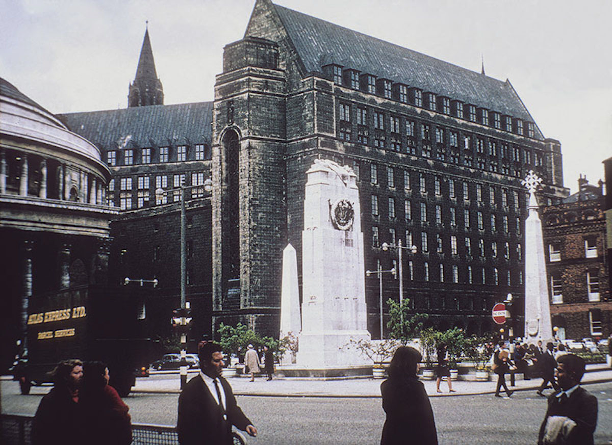View across St Peters' Square to the Cenotaph, Library and Town Hall Extension. Taken before the cleaning of the Town Hall in 1965-66.
