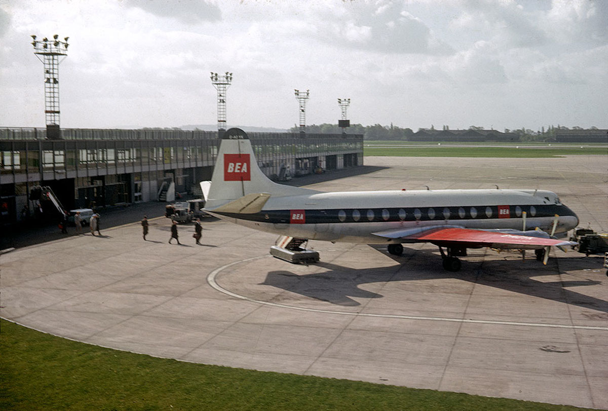 A British European Airways (BEA) plane on the apron at Ringway (Manchester) Airport in 1964.