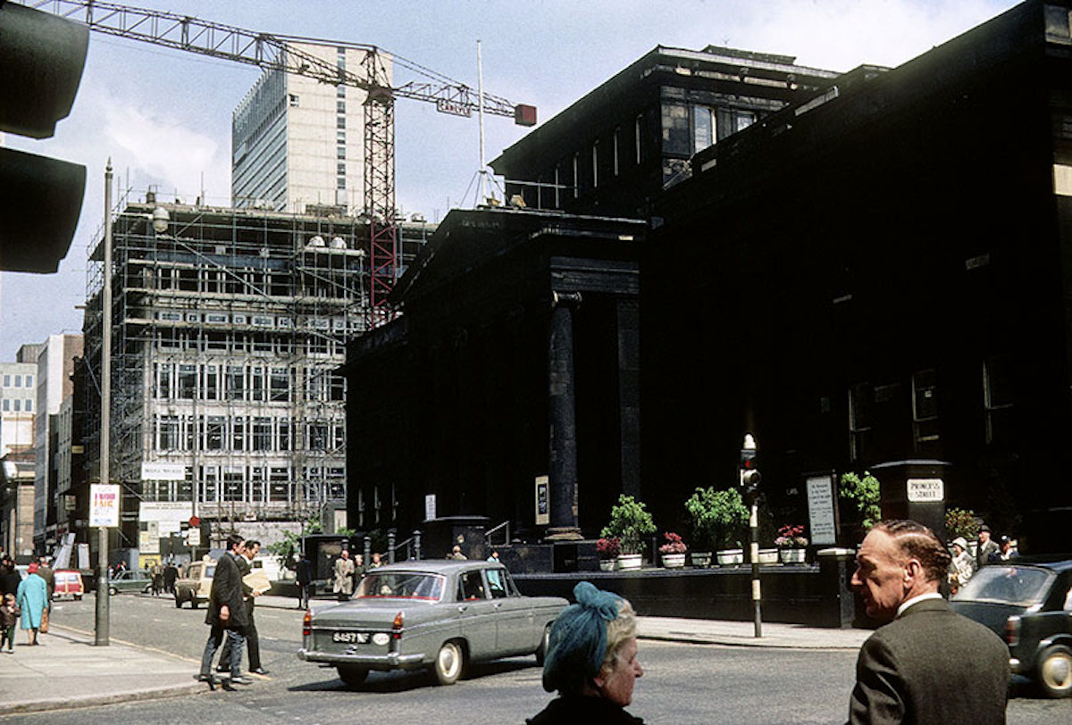 View along Mosley Street towards Piccadilly from the junction with Princess Street in 1966. The City Art Gallery is on the right, with the Commercial Union Assurance building under construction beyond it