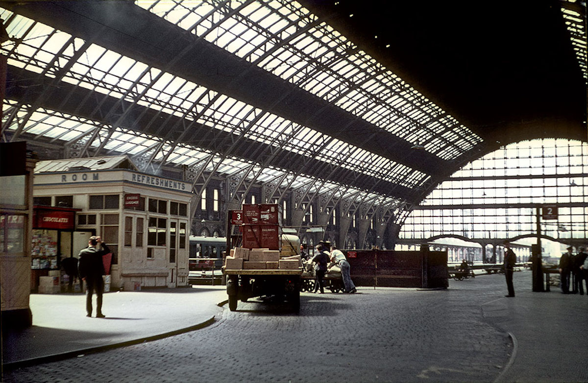 View of the train shed from the goods entrance at Manchester Central Station in the mid-1960s.