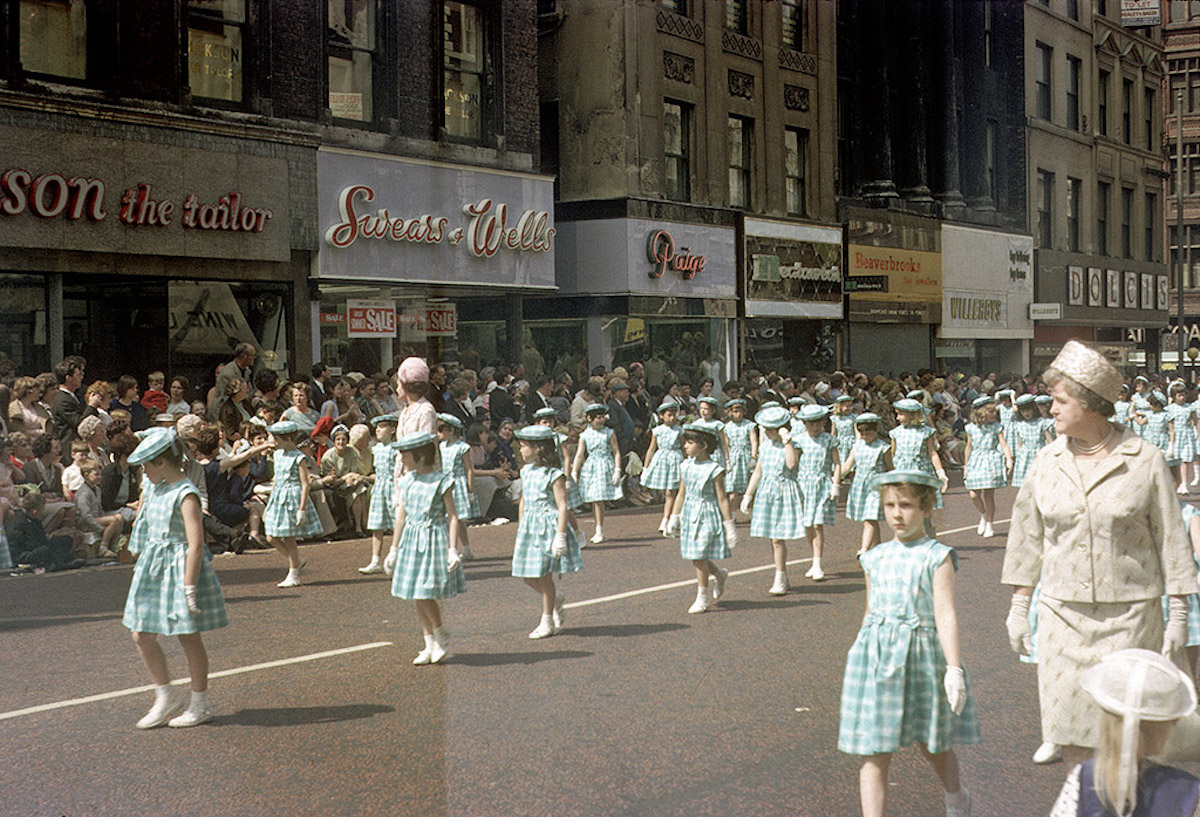 Whit Walk procession along Market Street, Manchester in 1966.Taken looking west along the section of Market Street between the junction with Spring Gardens and Brown Street.