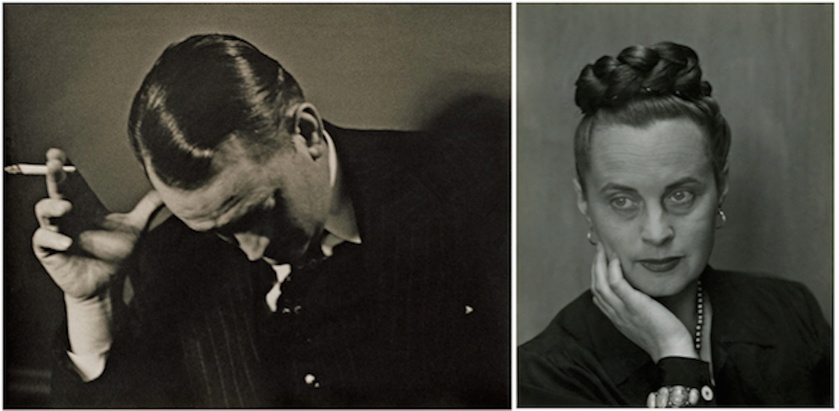 A pair of Edward Weston portraits of the couple from 1945, shortly before they separated. They were divorced in the early 1950s, but got together again in 1962 and remarried in 1965.