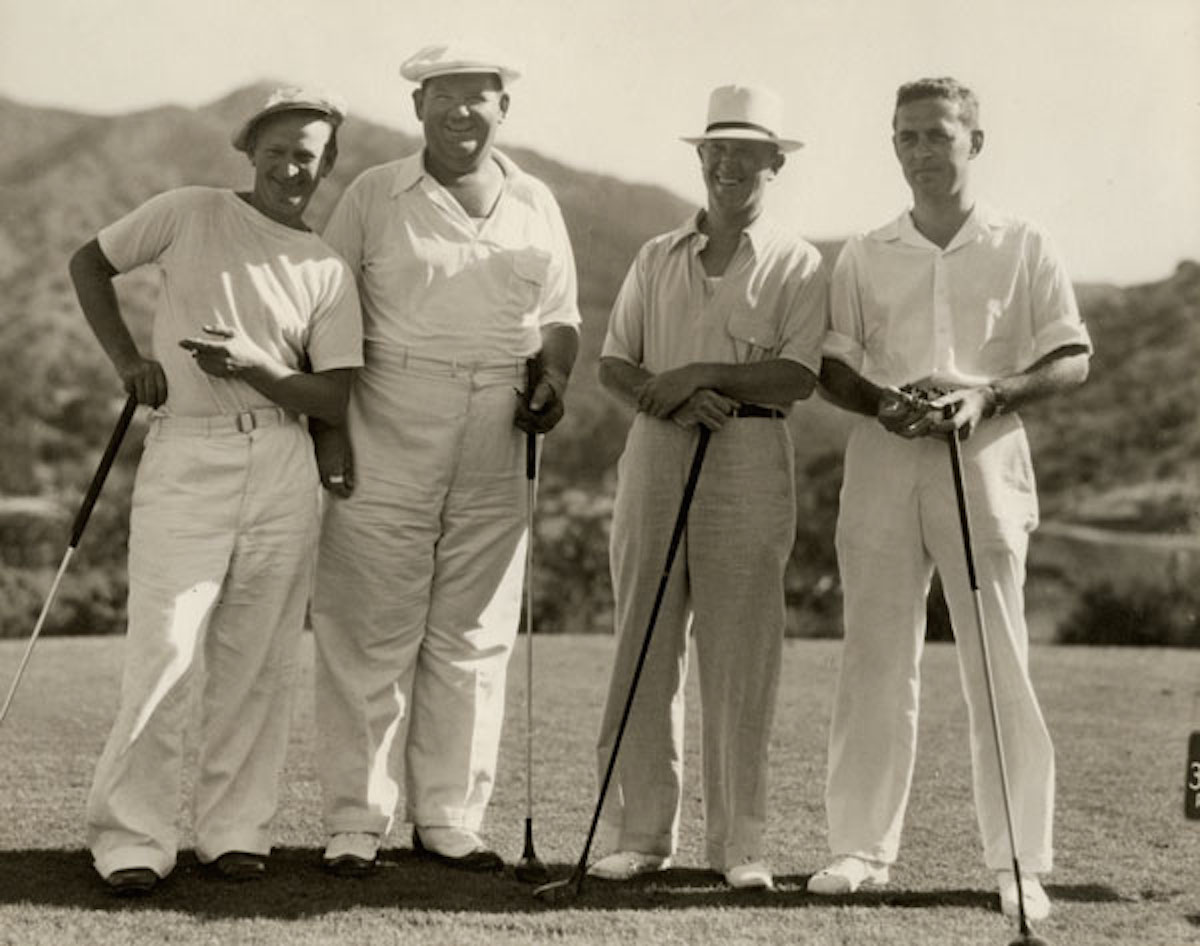 On Catalina, Otis Shepard (left) hobnobbed with the island's famous guests, such as Oliver Hardy and Stan Laurel (center). At right is his patron, P.K. Wrigley, who owned the majority share of the island.