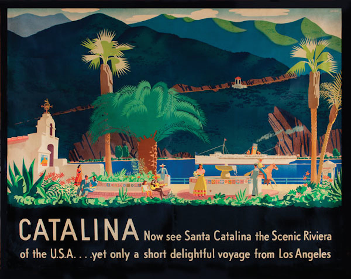 Otis and Dorothy spent four years on Santa Catalina Island in the mid-1930s, creating everything from posters (above) to signage and uniforms for the Wrigley-funded resort.