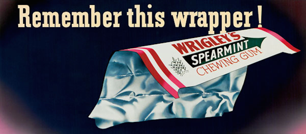 This Otis Shepard billboard from 1945 reminded customers that Wrigley's gum would be back as soon as the war ended.