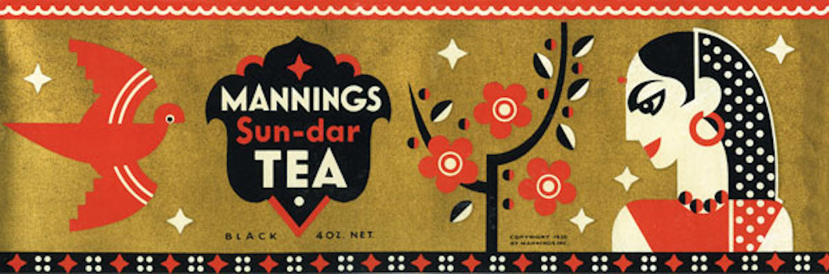 In the early 1930s, Dorothy Shepard designed a series of labels for Mannings Tea.