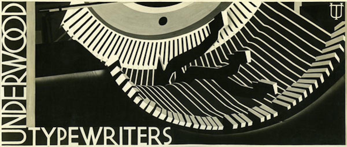 Dorothy Shepard designed numerous billboards for clients during the 1930s, including this one for Underwood Typewriters.