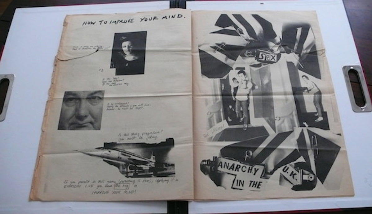 Pages 8 + 9 of my copy of Anarchy In The UK #1, the December 1976 Sex Pistols fanzine commissioned by Malcolm McLaren and realised by Jamie Reid, Ray Stevenson and Vivienne Westwood. (c) Paul Gorman Archive