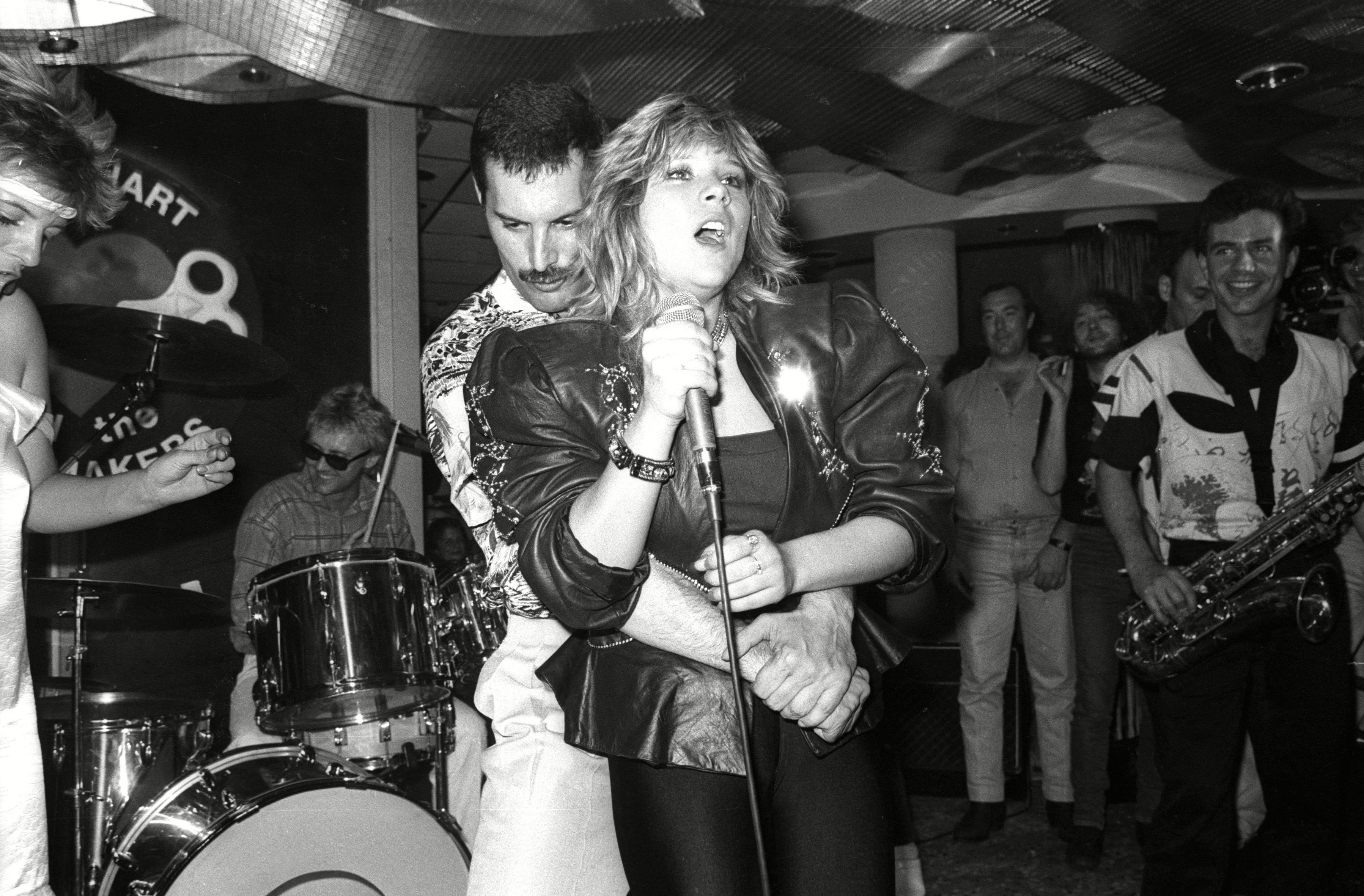 Mandatory Credit: Photo by Alan Davidson/Silverhub/REX/Shutterstock (7531703ak) Private Concert and Party at the Kensington Roof Gardens Freddie Mercury and Samantha Fox Queen Hold A Private Concert and Party and Were Billed As 'Dicky Heart and the Pacemakers' at the Kensington Roof Gardens - 11 Jul 1986