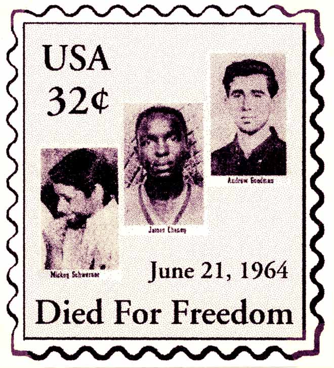 Stamp in memory of James Cheney, Micky Schwerner, and Andy Goodman, designed by Danny Lyon and his class at CUNY, 1990s