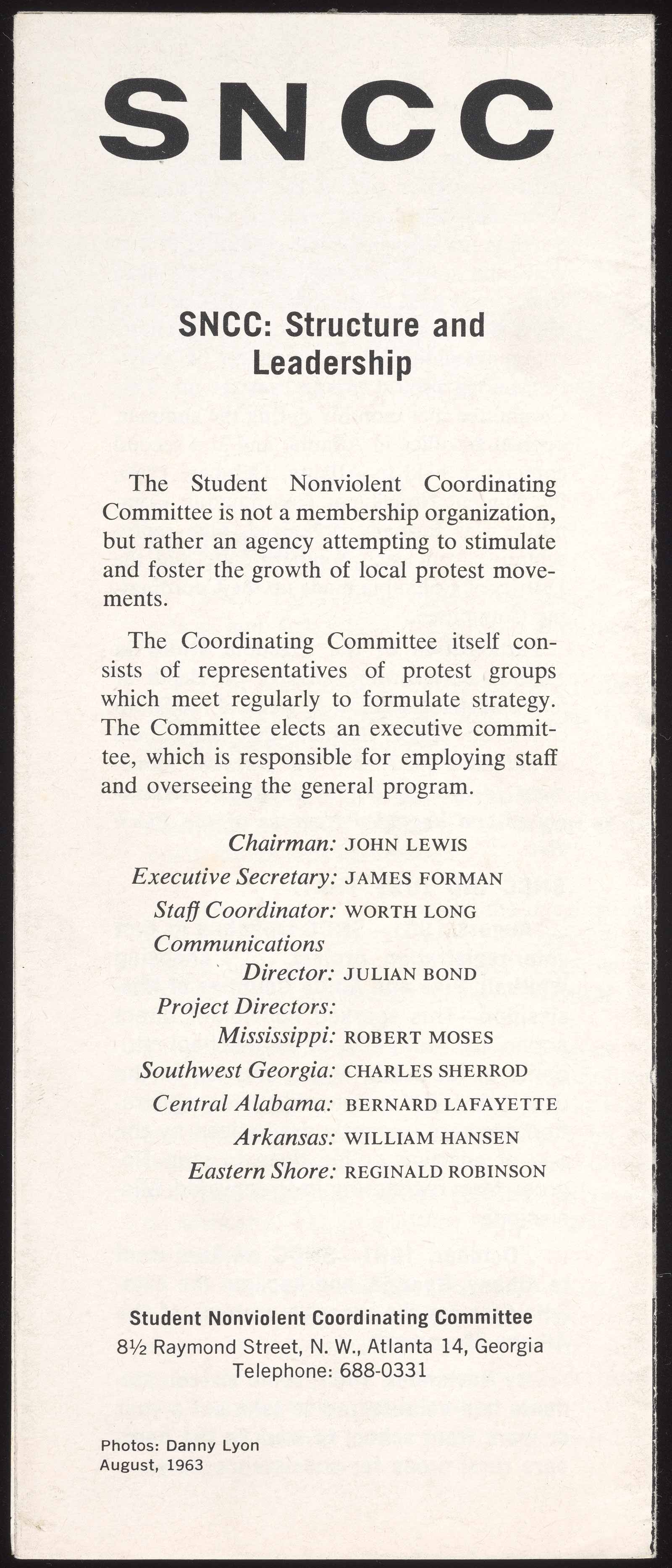 The Fine Arts Museums of San Francisco Verso of the Mississippi Summer brochure, listing the SNCC staff of 1963