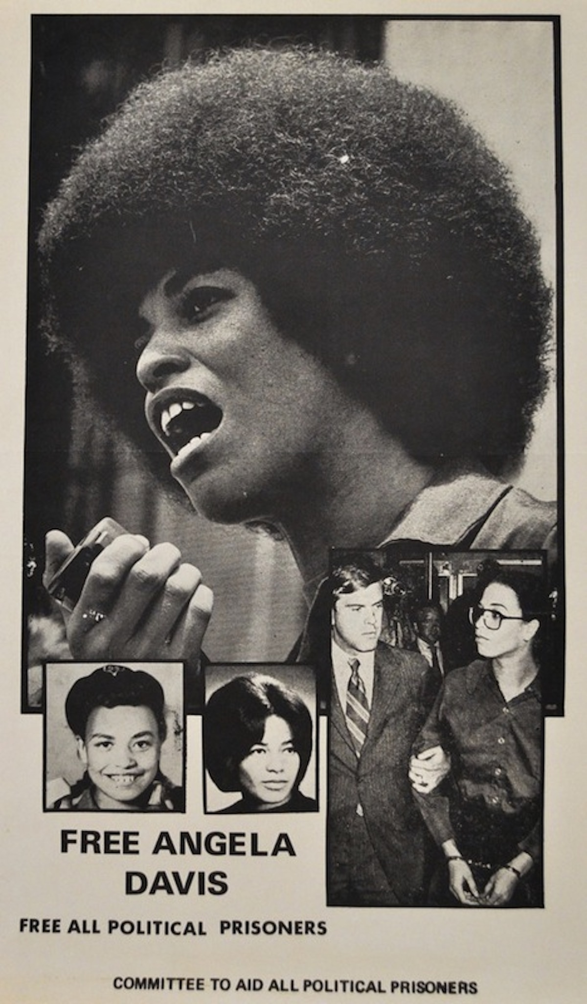 "The most reproduced photograph of Angela was the one of her holding a microphone at a rally in the spring on 1970. It was reproduced on page 24 of a ""Life"" magazine cover-story article, published on September 11, 1970, and titled ""The Making of a Fugitive."" The photographer is unknown."