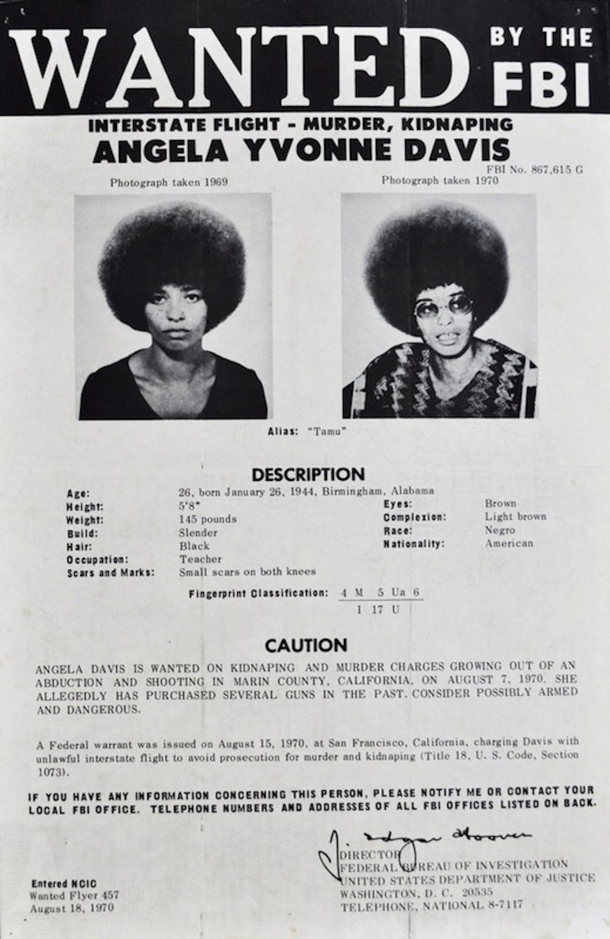 angela davis wanted