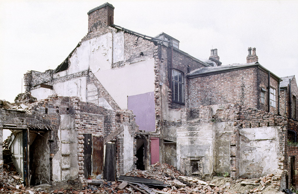 Houses built in the 1820s in Grosvenor Place, Oxford Road, during demolition in 1988.