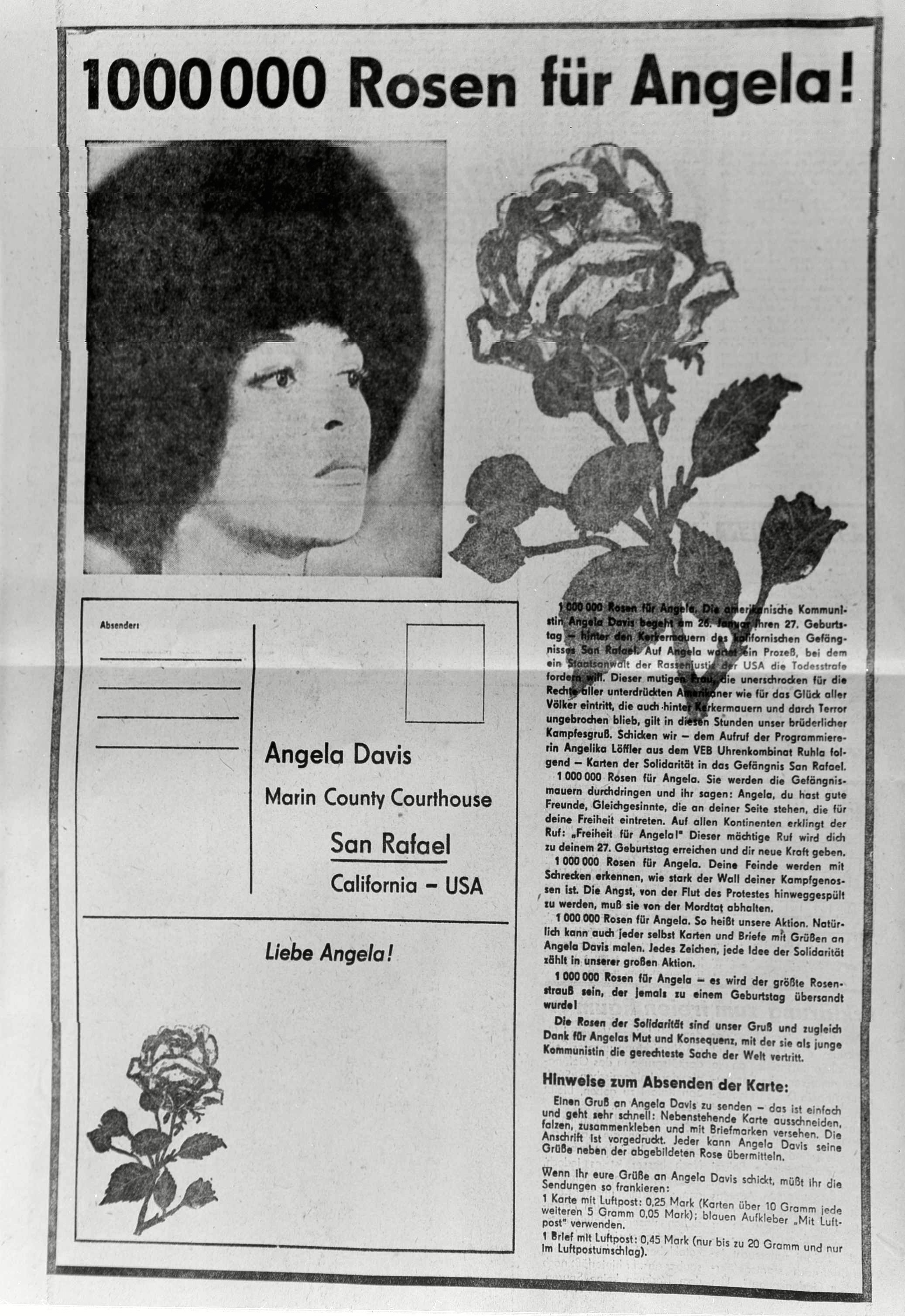 Angela Davis This is the layout of a page in the East German newspaper Wif, to send symbolic roses to Angela Davis, imprisoned American Black Power advocate 19 Jan 1971
