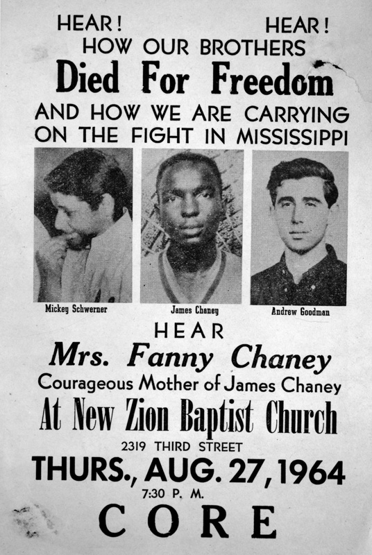 USA. Mississippi. 1964. A poster calls for a CORE (Congress of Racial Equality) meeting. Pictured are slain civil rights workers Mickey Schwerner, James Chaney, and Andrew Goodman.