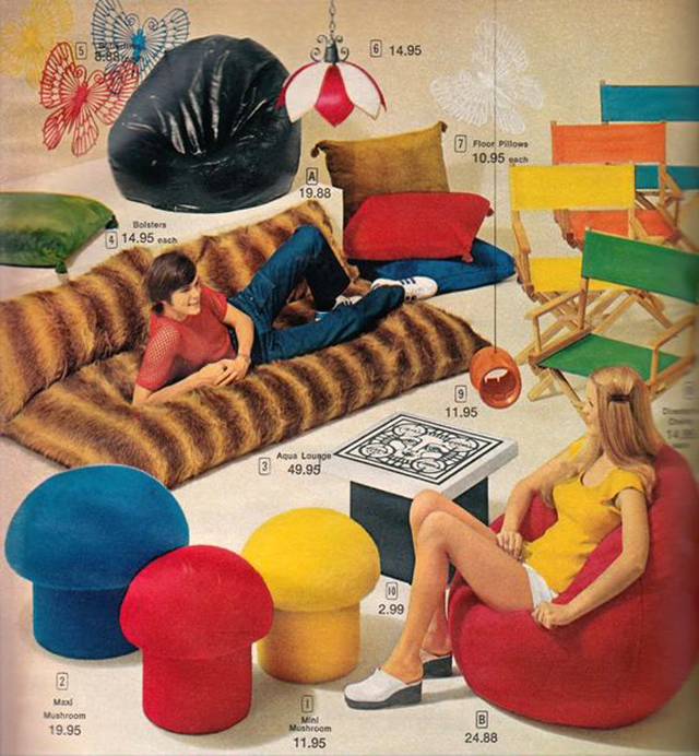The High Water Mark In History Of Bean Bag Chair Farrah From 1977 Sears Catalog