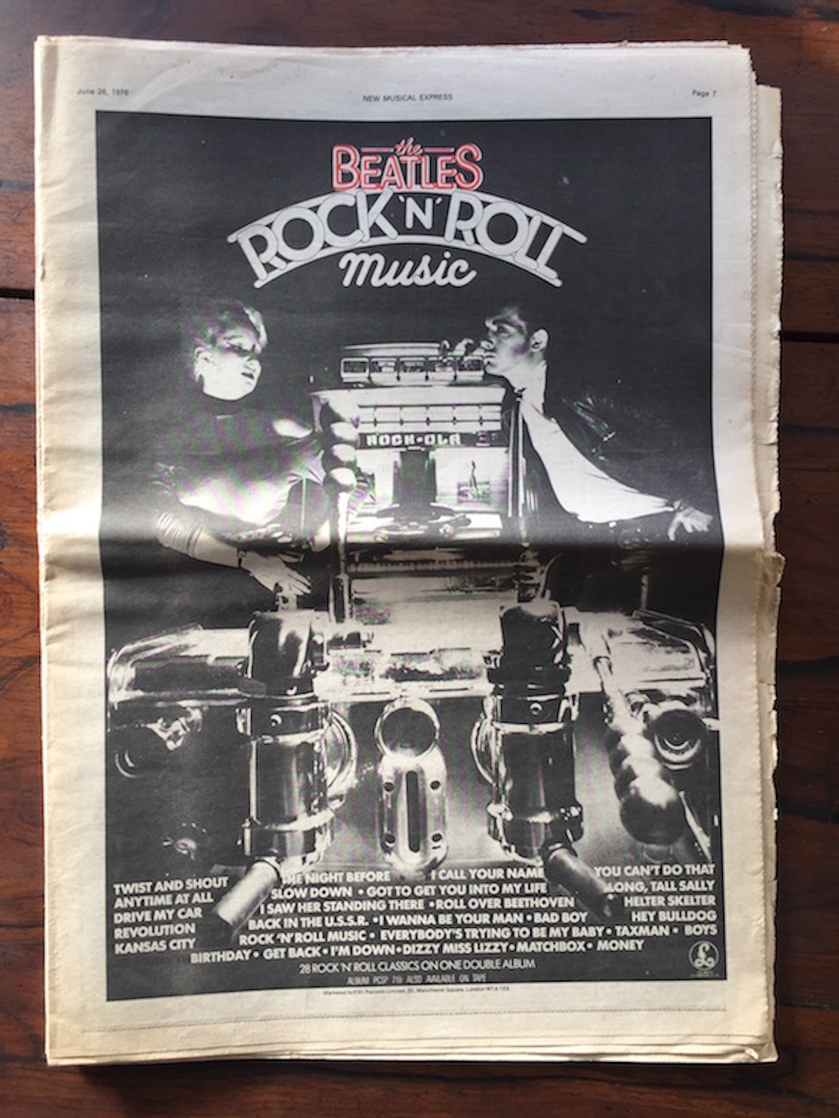 "As they appeared in the Parlophone full-page advert for The Beatles compilation Rock ""n""Roll Muisc, New Musical Express, June 26, 1976"