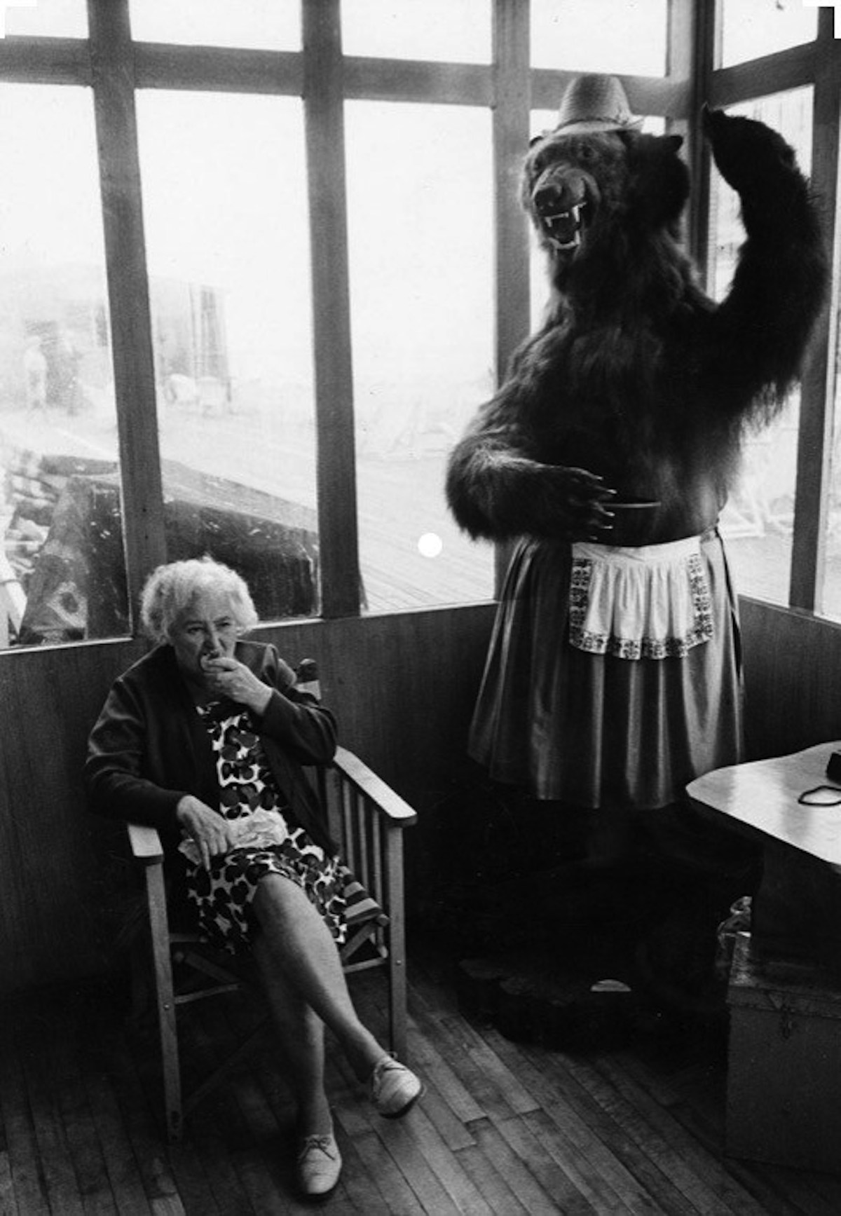 Elderly woman eating pie seated in a piershelter next to a stuffed bear, 1969.