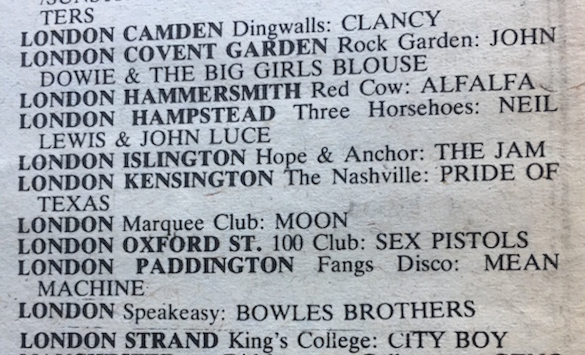 From the publication's 'Nationwide Gig Guide', June 26, 1976