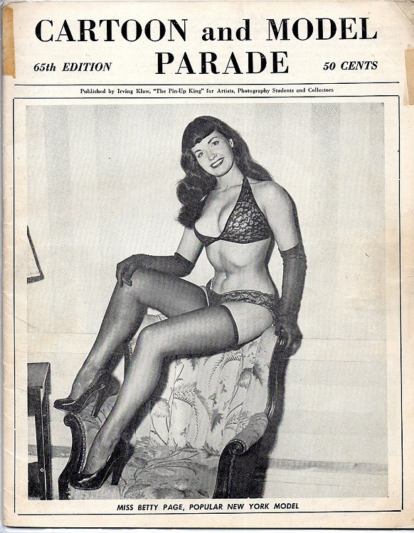 Irving Klaw Bettie Page cartoon and model parade