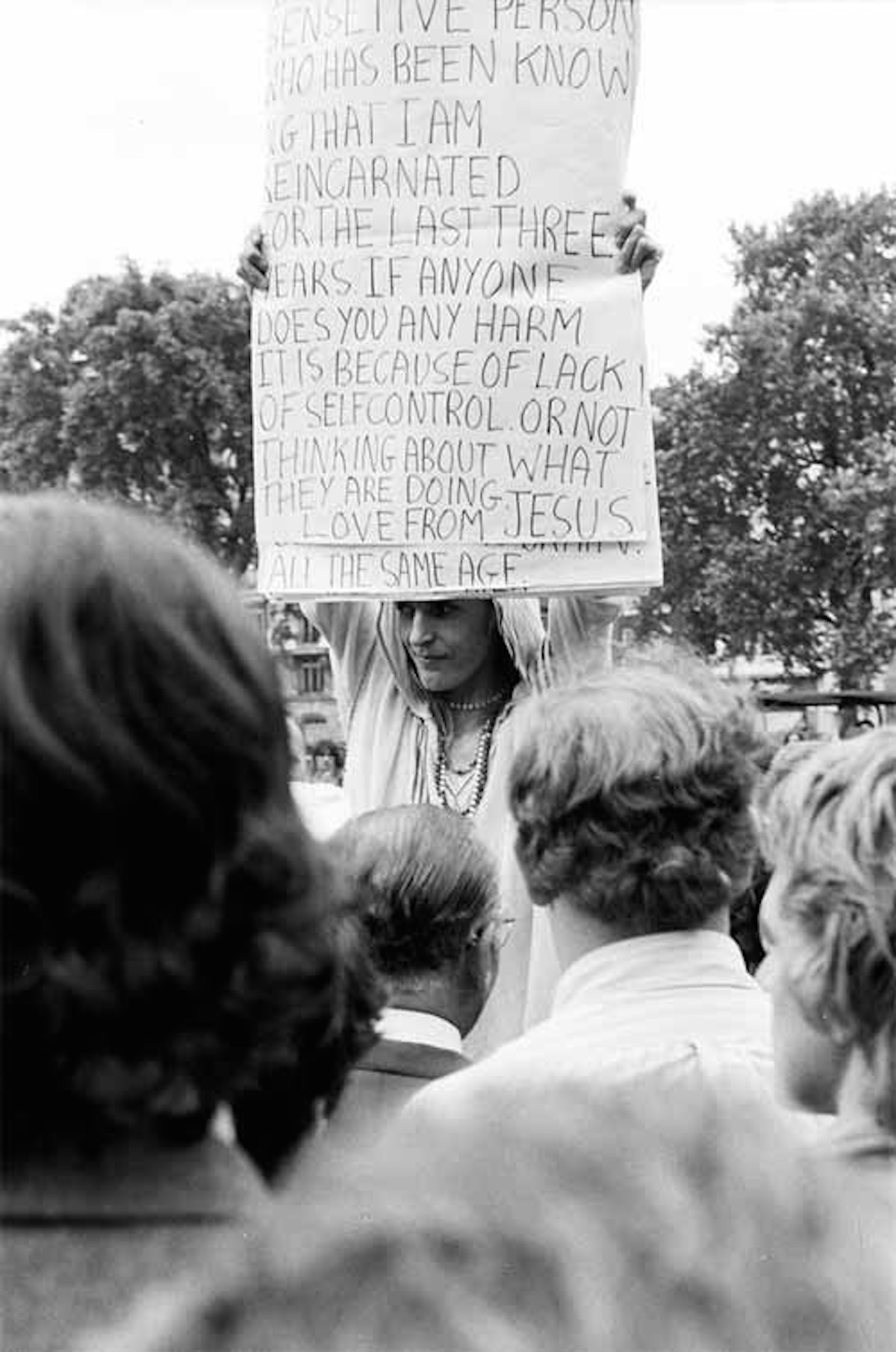 Jellett at Speakers' Corner, Hyde Park, 1973 (Source- Willem GT, UK Rock Festivals)