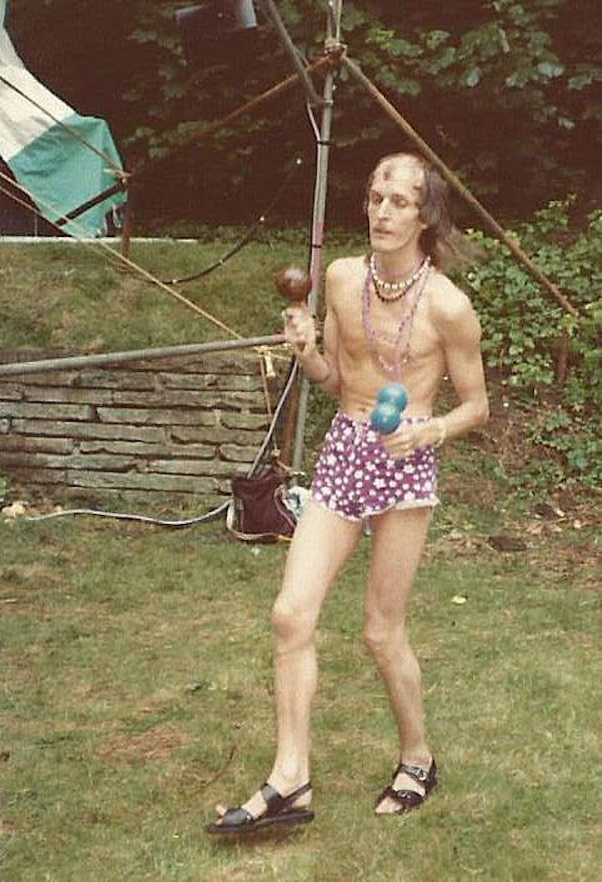 Jellett dancing at an open air gig in Hitchin, early 1980s (Source- Oz Hardwick)