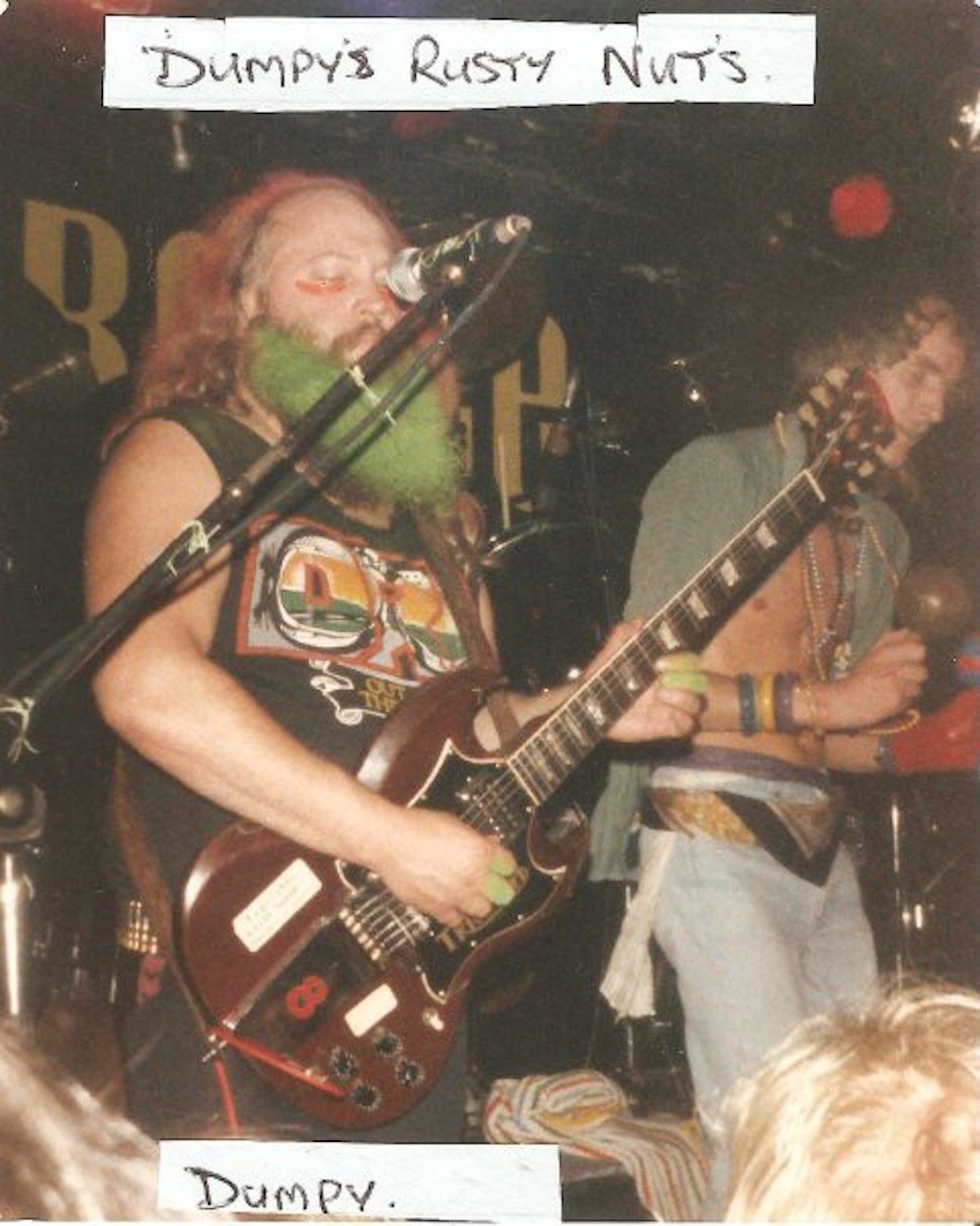 Jellett onstage at The Marquee, with Dumpy's Rusty Nuts, 1986 (Source- Elisabeth Anne)