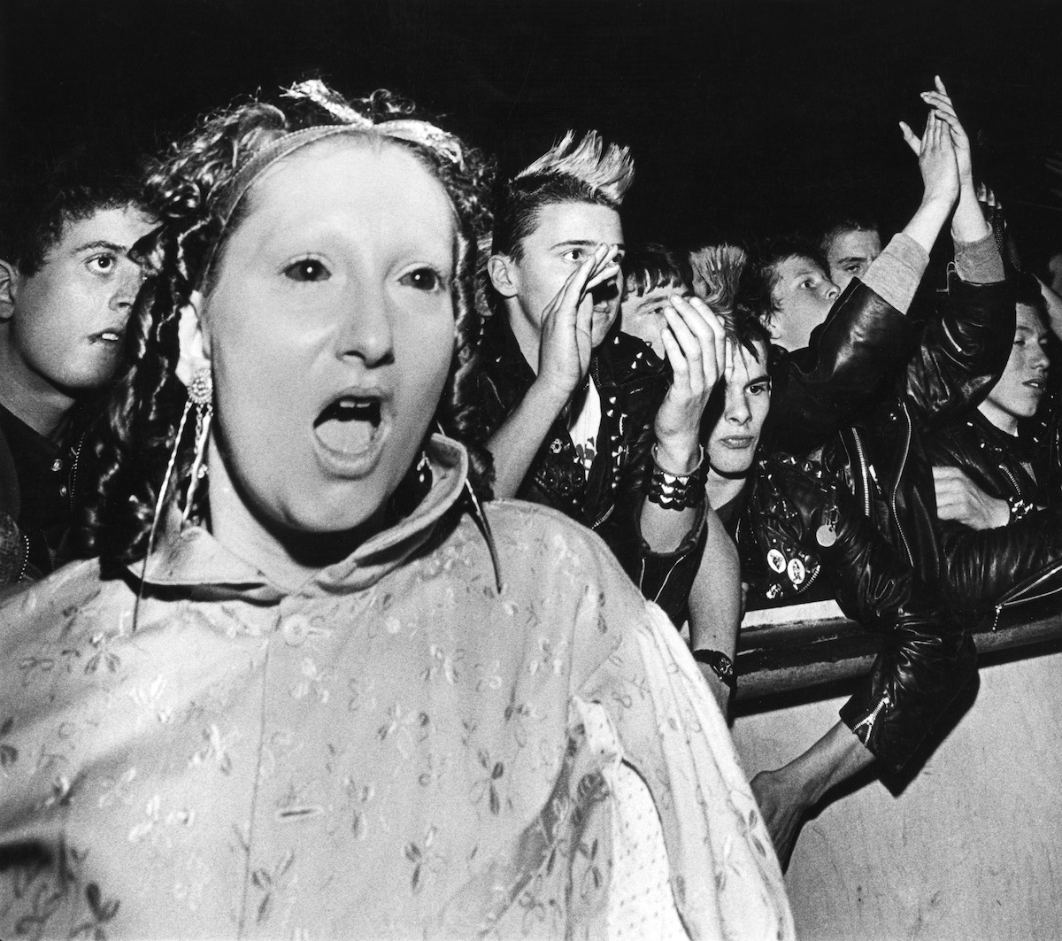 Jordan, Ant People, wearing face-paint, with no eyebrows, Adam & The Ants gig crowd, UK 1980s