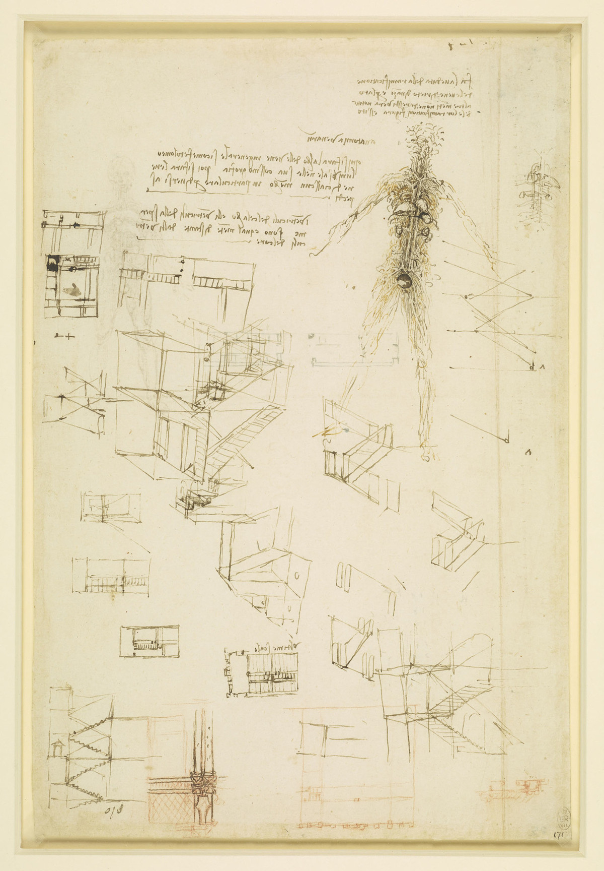 Studies of the vessels of the body, and of staircases.