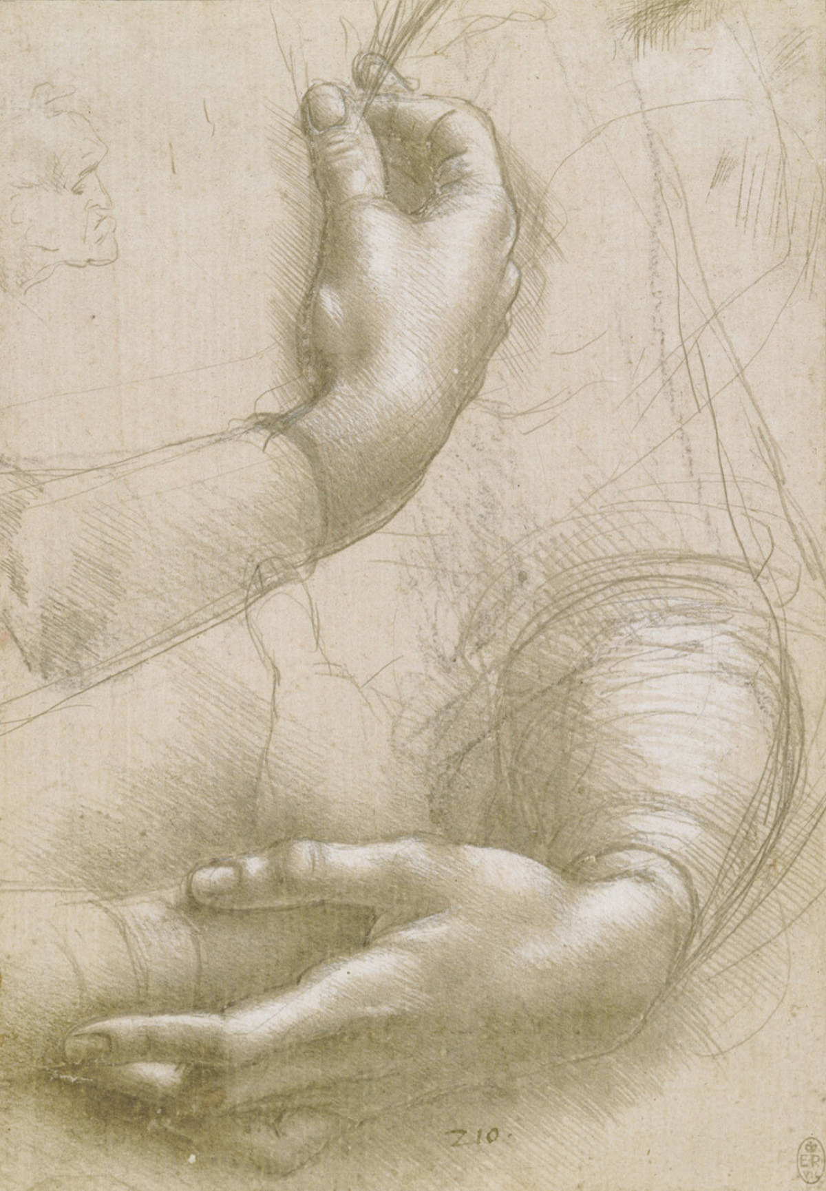 Leonardo da Vinci, Studies of Hands, c. 1489–90, 214 x 150 mm, metalpoint on prepared paper, Royal Collection, London