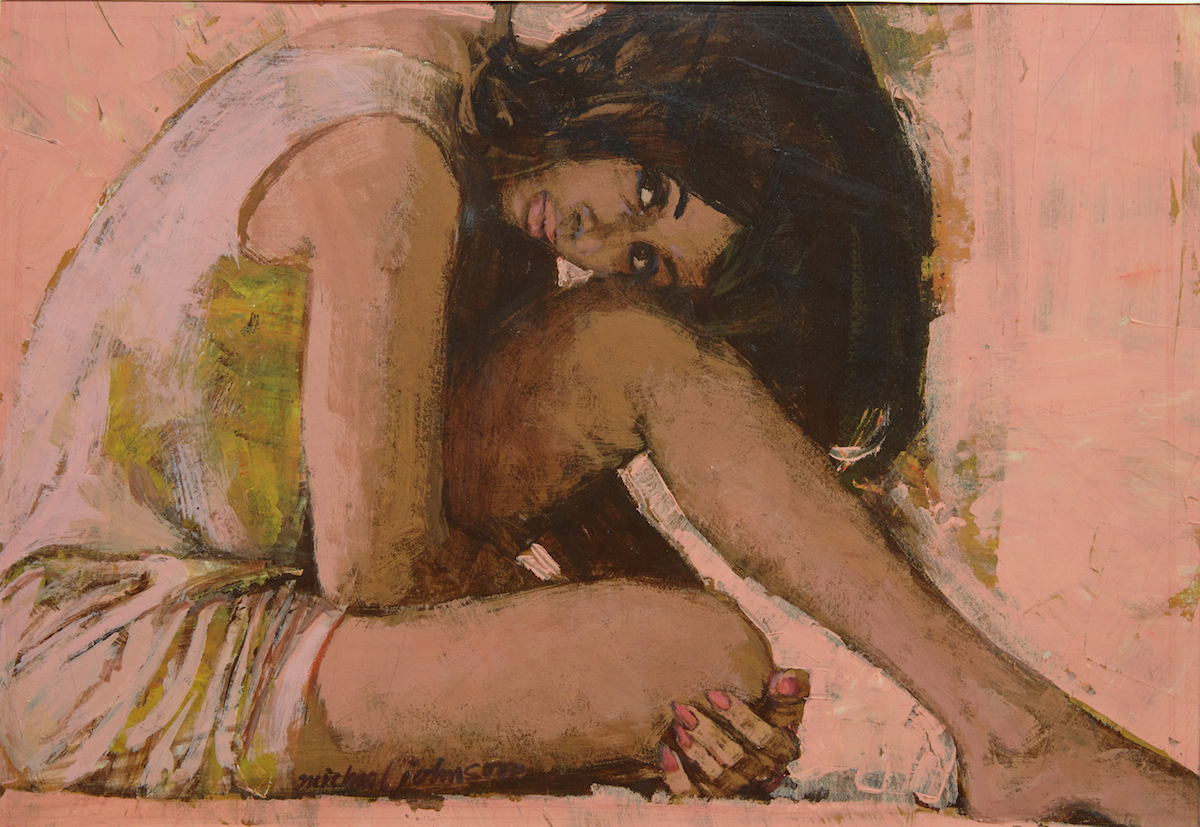 Michael Johnson_Pink Woman_c1962_casein tempera on board_copyright Lever Gallery_cropped