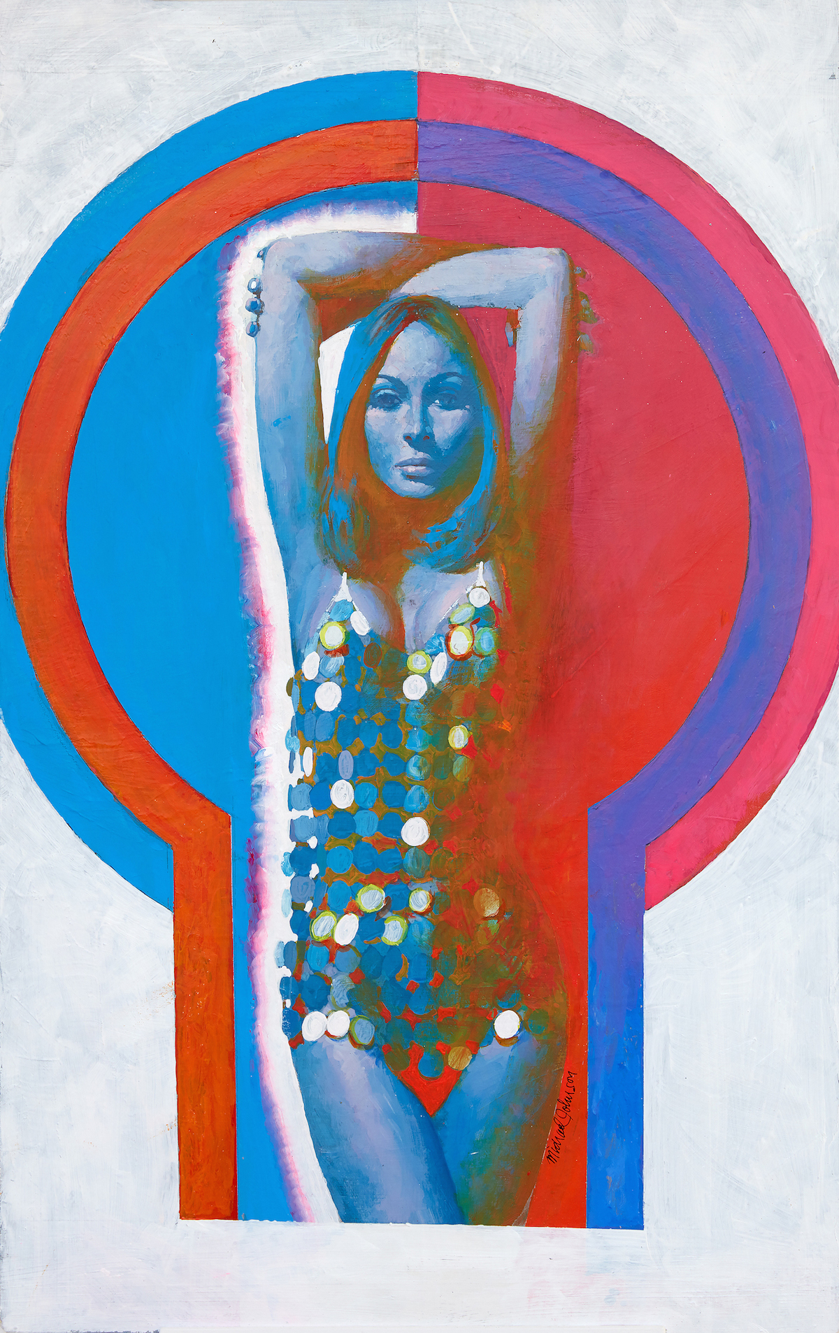 Michael Johnson_Woman in Silver Disc Swimsuit_1967_ acrylic on board_copyright Lever Gallery_AW
