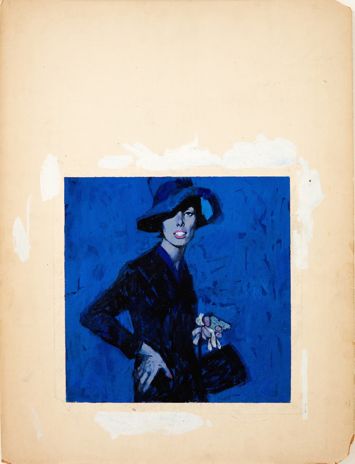 Renato Fratini_ Lady in Blue_c1960s_ gouache on board_copyright Lever Gallery_AW