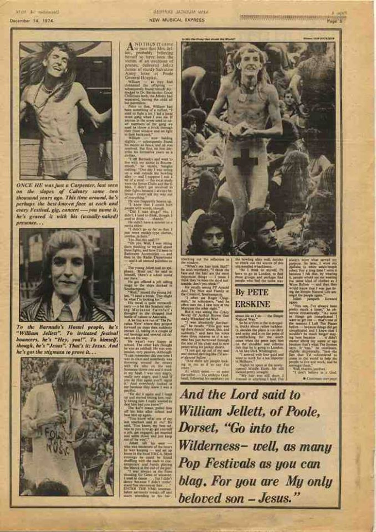 The NME profile of Jellett, 14th December 1974