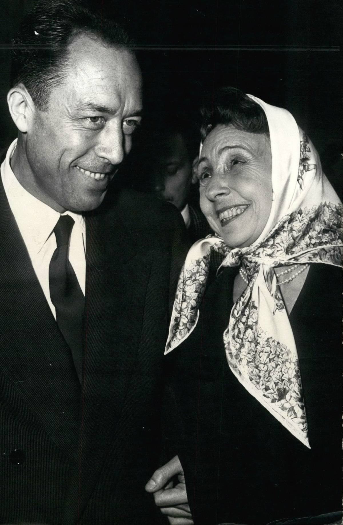 Albert Camus awarded Nobel Prize for literature 1957 44-year old French author Alobert Camus was awarded the Nobel Prize for literature by the Swedish Academy today. Albert Camus, photographed with Madeleine Renaud, famous French actress during the reception held at Gallimard The Paris publisher, this afternoon. 1957