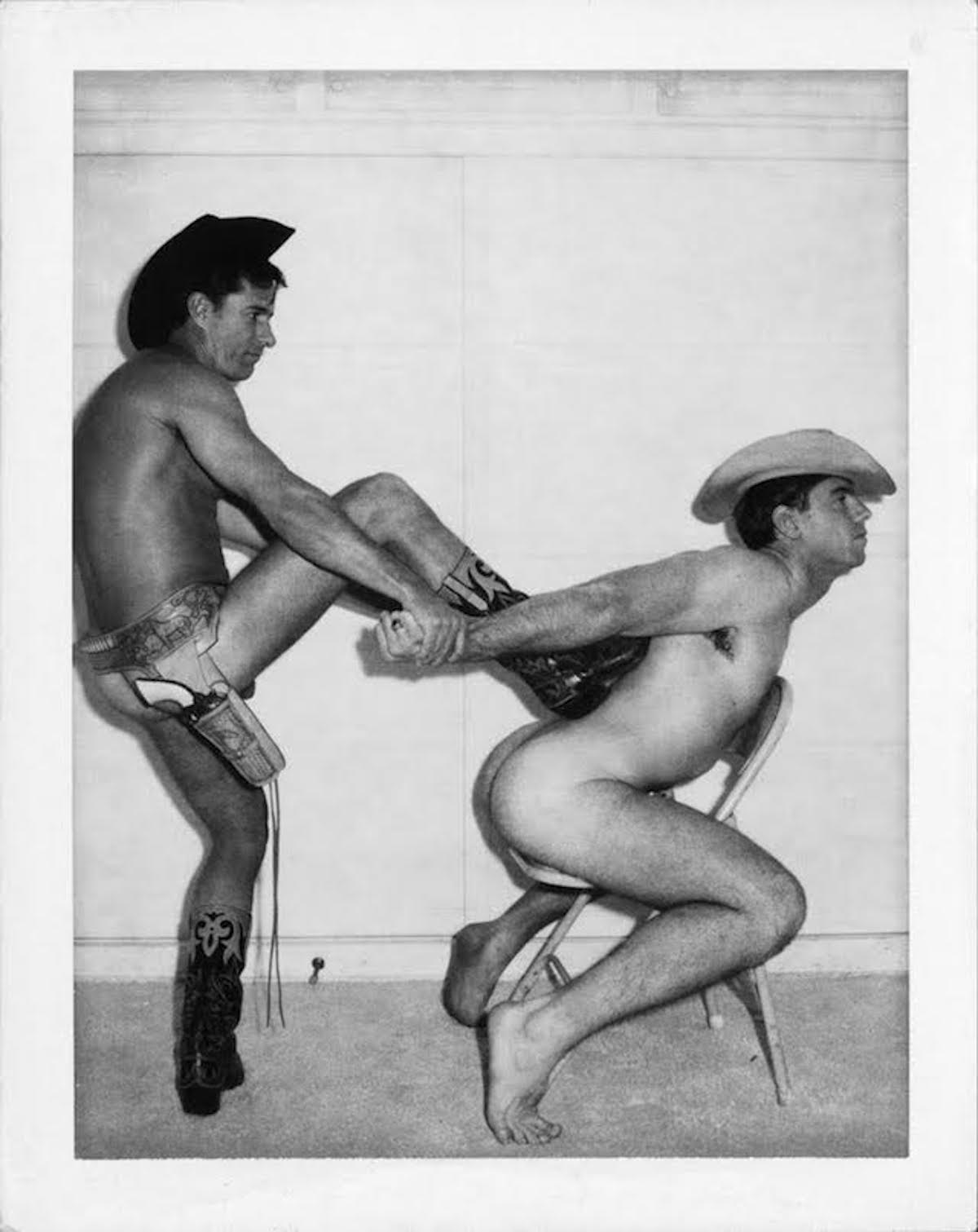 "Jim French, ""Untitled (Cowboys),"" (c. 1967-9) Vintage Polaroid print (© Jim French. Courtesy of ClampArt and Antinous Press)"