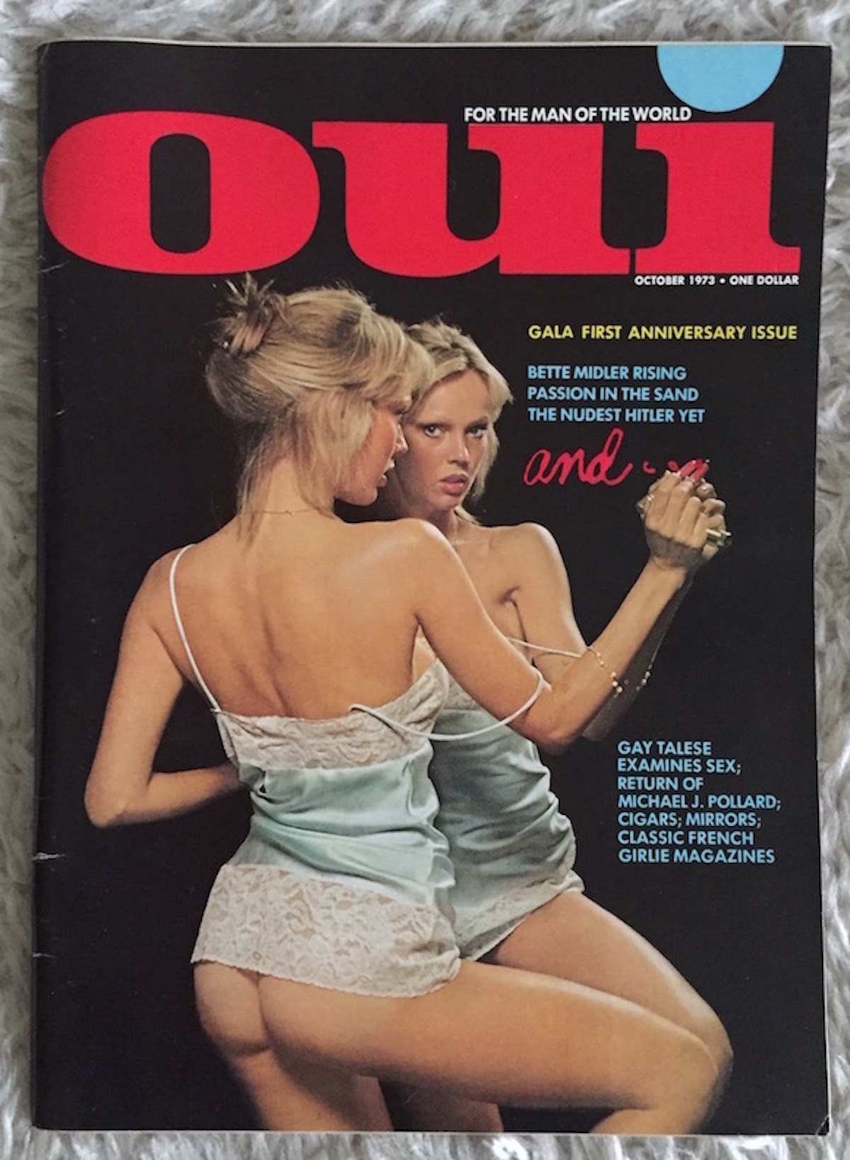 Oui, October 1973. Photographer and model uncredited
