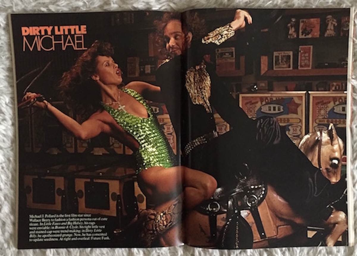 Opening spread of the fashion shoot; the headline plays on the fact that Pollard starred in the recently released movie Dirty Little Billy
