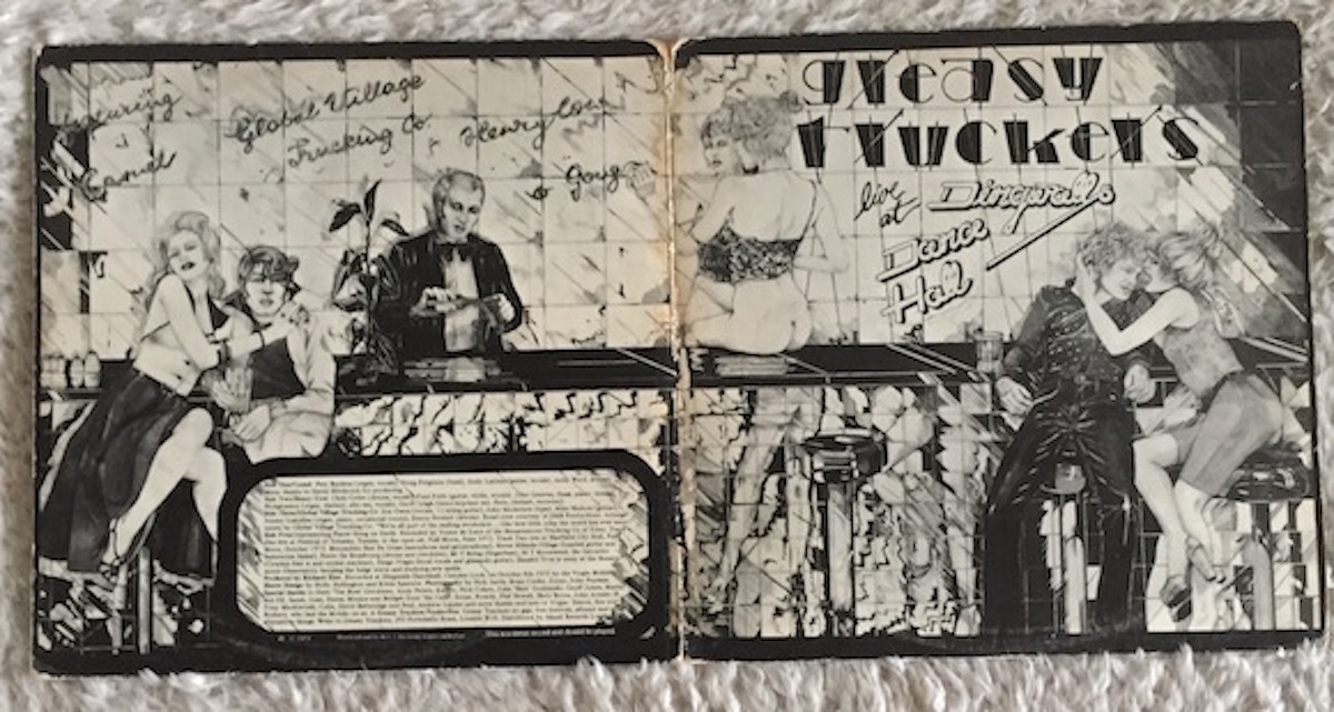 Outer gatefold. Lettering and design by the late Kevin Sparrow, whose CV included stints at the underground press and Stiff Records. Illustration: Holly Hollington