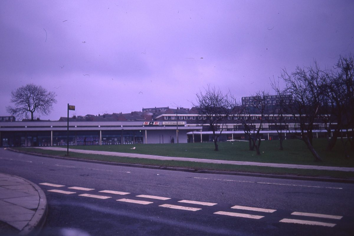 Junction of Blacklock Road and Callow Road, looking toward Gleadless Road and Newfield Green shops, Sheffield, 1972.