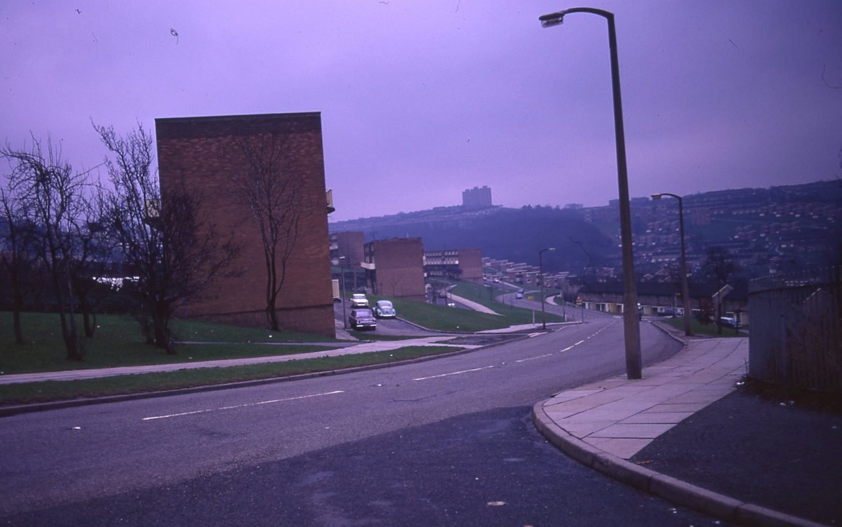 Housing at junction of Blackstock Road and Callow Road, looking towards Gleadless Valley, Sheffield, 1972.