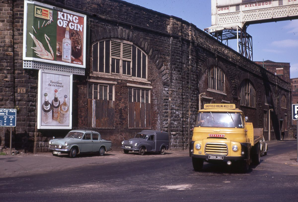 View of The Wicker Arches from Walker Street, Sheffield. The Grade II* listed Wicker Arches, is officially called the Sheffield Victoria Viaduct, as it supported Sheffield Victoria Station, which closed to passengers in 1970.