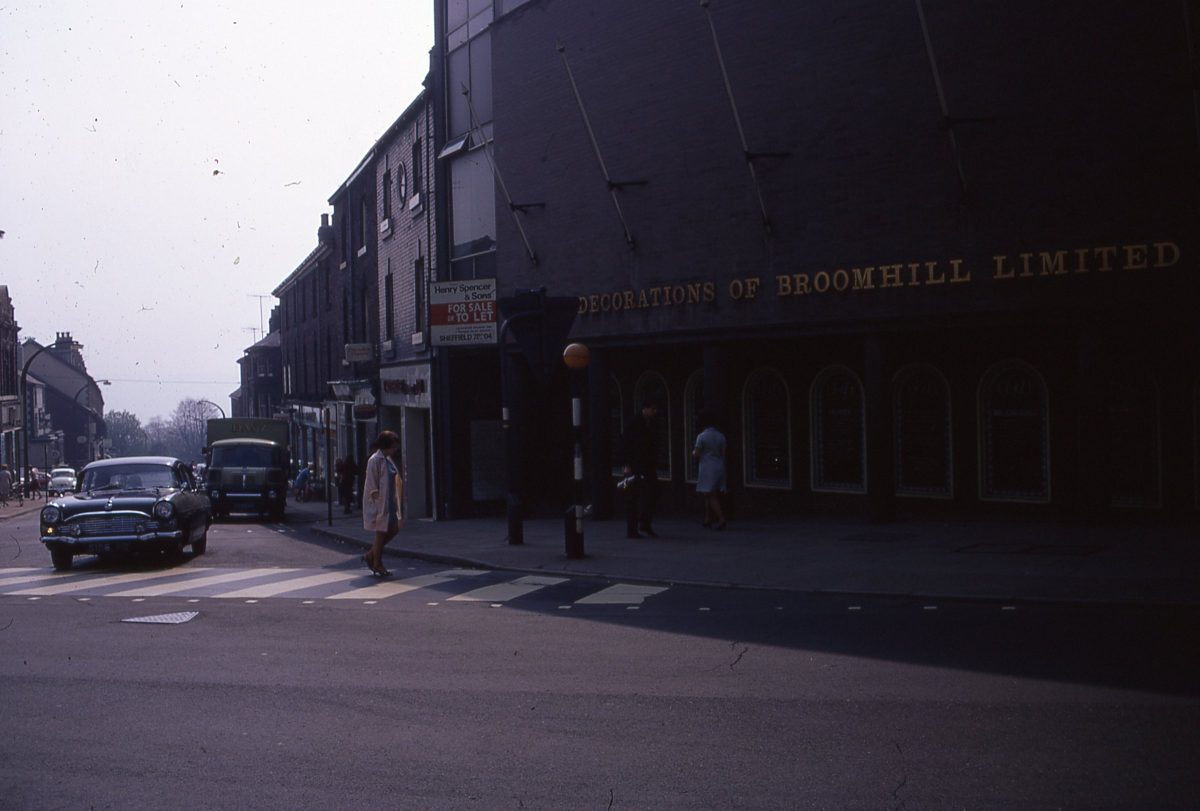 Junction of Glossop Road & Fulwood Road, The Broomhill Study, Sheffield, May 1970.