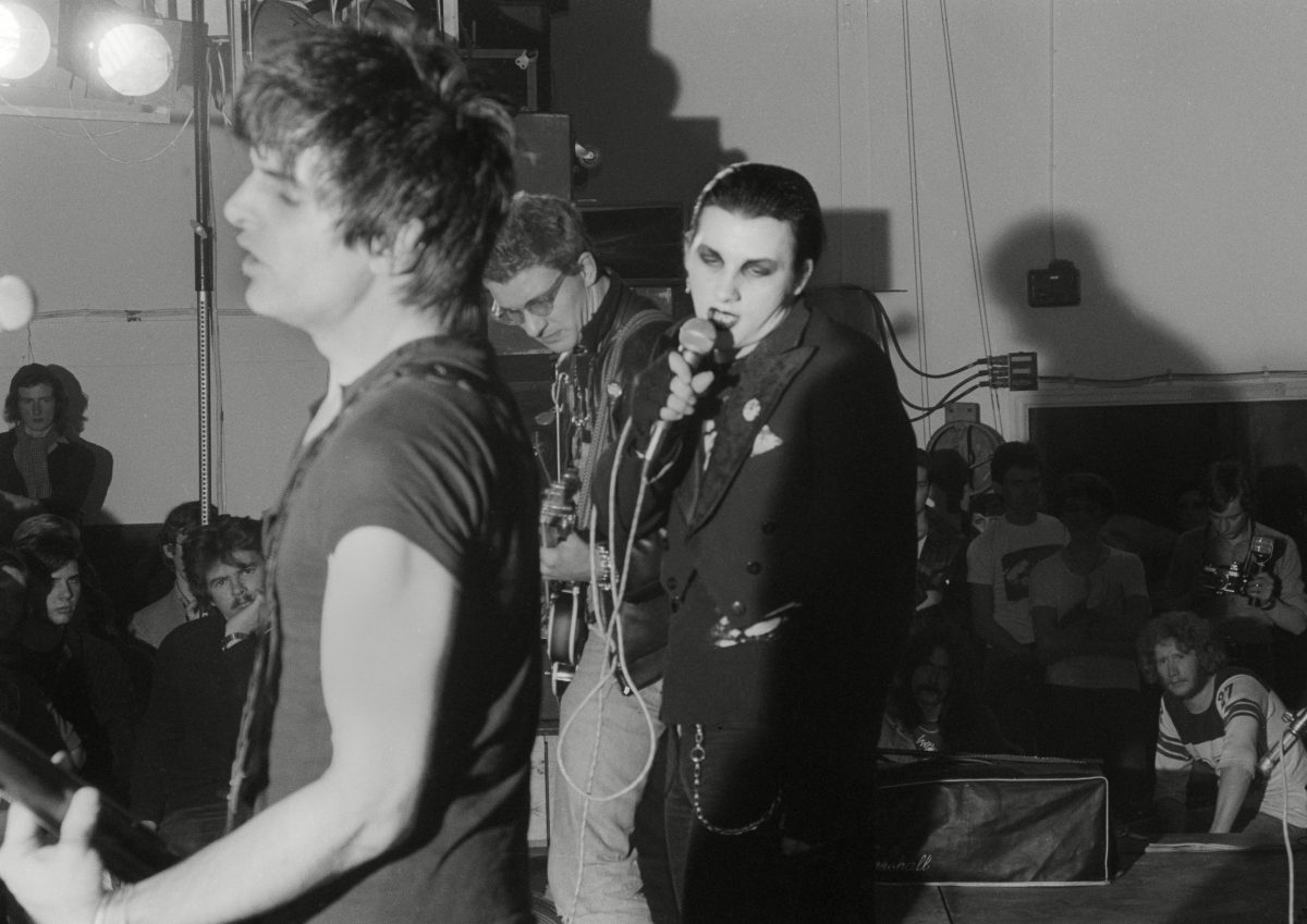The Damned, Anarchy Tour, Leeds - Brian James, Dave Vanian and Captain Sensible.