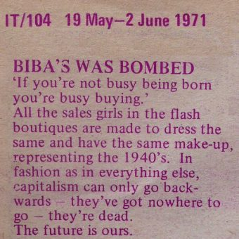 Biba's Was Bombed: The Angry Brigade Communique 8 (May 1st 1971)