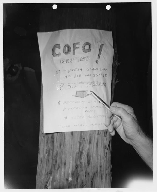 Description- COFO meeting sign Date- Original created- 1964-07-24