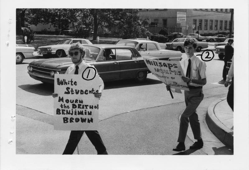 Description- Millsaps students protest death of JSU student Ben Brown Date- Original created- 1967-05-11