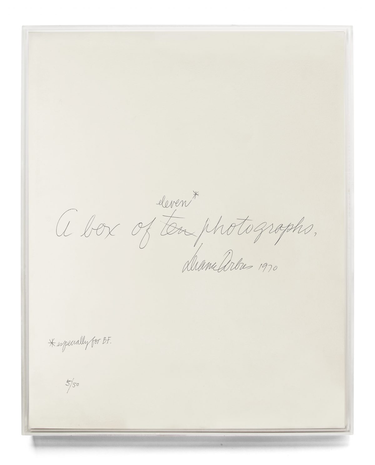Diane Arbus and Marvin Israel, Lucite Box designed by Israel for A box of ten photographs, with cover sheet by Diane Arbus, 1970-71